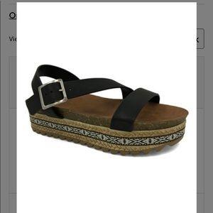 Black Wedge Ankle-Strap Sandal, Size 10